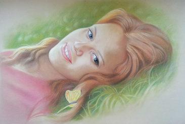 Настоящий портрет пастелью для любимой девушки в Бишкеке, просто и со вкусом!