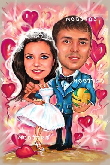 Свадебный шарж с оригинальным сюжетом в Бишкеке!