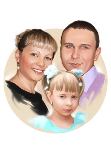 Семейный портрет по фото на холсте в Бишкеке — правильный подарок!