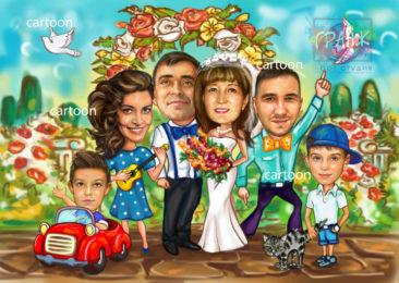Шарж по фото на годовщину свадьбы на заказ в Бишкеке…